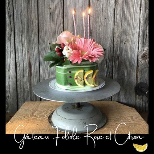 Fleuriste-Foliole-Gateau-de-fleurs-Rose-et-citron---15-cm