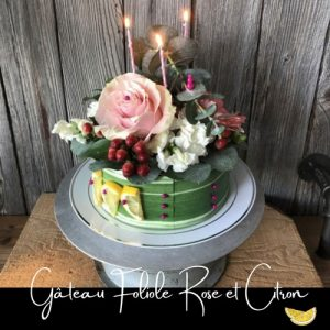 Fleuriste-Foliole-Gateau-de-fleurs-Rose-et-citron---20-cm