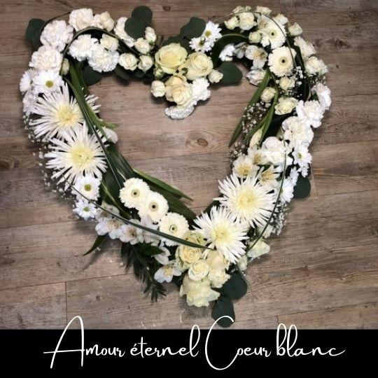 Coeur funéraire blanc Fleuriste foliole bouquet fleurs amour eternel coeur