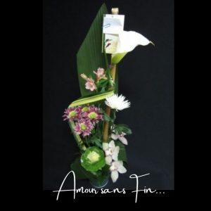 Fleuriste foliole bouquet fleurs funeraire amour sans fin