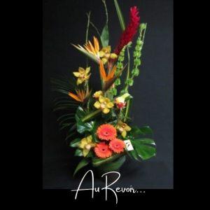 Corbeille funeraireFleuriste foliole bouquet fleurs funeraire au revoir