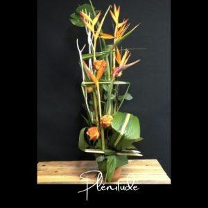 Corbeille funeraire Fleuriste foliole bouquet fleurs funeraire corbeille plenitude