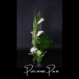 Corbeille funeraire Fleuriste foliole bouquet fleurs funeraire corbeille precieuse paix