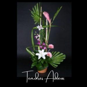 Corbeille funeraire Fleuriste foliole bouquet fleurs funeraire corbelle tendres adieux