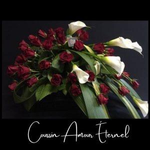 Fleuriste foliole bouquet fleurs funeraire coussin amours eternel