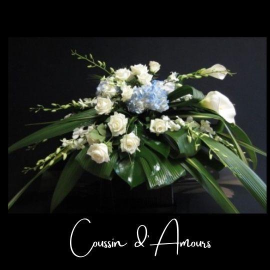 Fleuriste foliole bouquet fleurs funeraire coussin d_amours