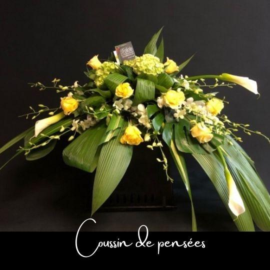 Fleuriste foliole bouquet fleurs funeraire coussin de tombe de pensees