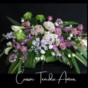 Fleuriste foliole bouquet fleurs funeraire coussin tendre amour
