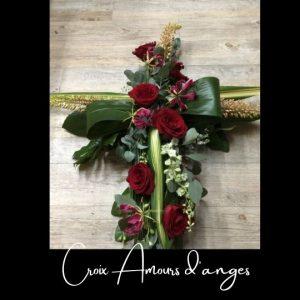 Fleuriste foliole bouquet fleurs funeraire croix amours d_anges