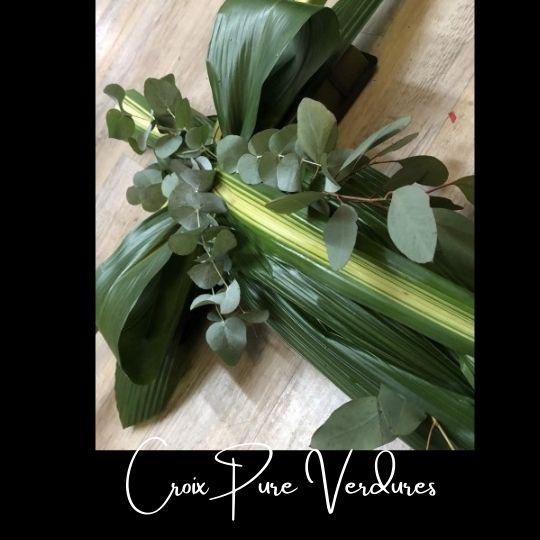 Fleuriste foliole bouquet fleurs funeraire croix pure verdures