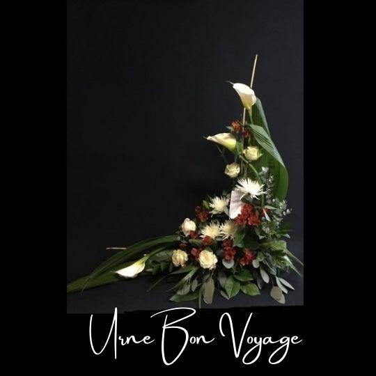 Fleuriste foliole bouquet fleurs funeraire urne bon voyage