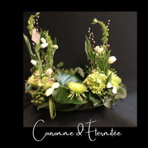 Couronne Urne Fleuriste foliole bouquet fleurs funeraire urne couronne d_eternitee