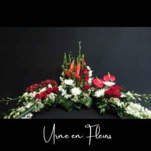 Fleuriste foliole bouquet fleurs funeraire urne en fleurs le soutien