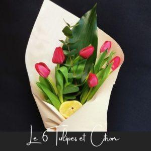 Bouquet le 6 tulipes fleuristefoliole.com