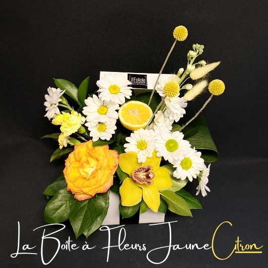 la boite a fleurs jaune citron fleuristefoliole.com
