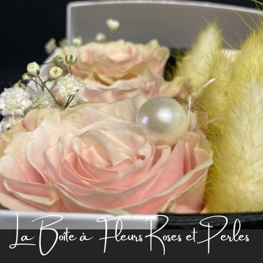 la boite a fleurs roses et perles fleuristefoliole.com